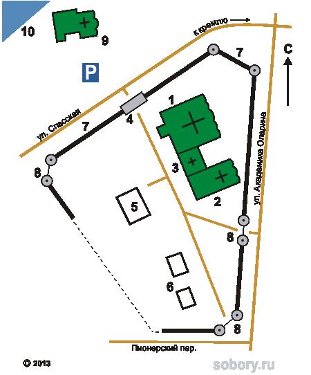План Воскресенского монастыря в Угличе
