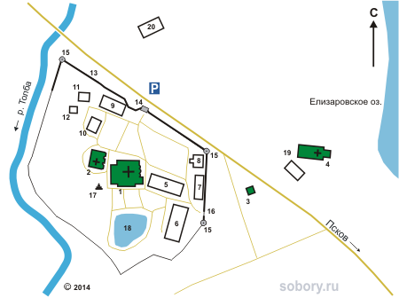 План Спасо-Елеазаровского монастыря