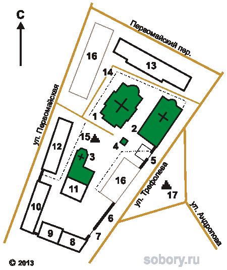 План Казанского монастыря в Ярославле