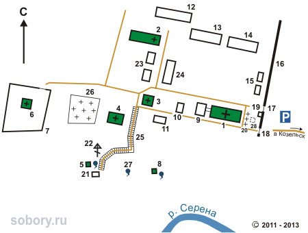 План Казанской Свято-Амвросиевской пустыни,  Шамордино,Калужская область