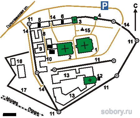 План Старо-Голутвина монастыря,Коломна
