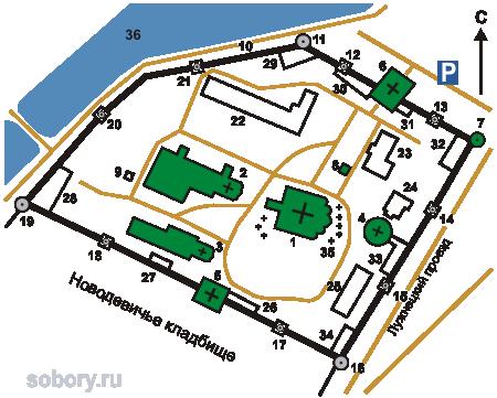 План Новодевичьего монастыря,