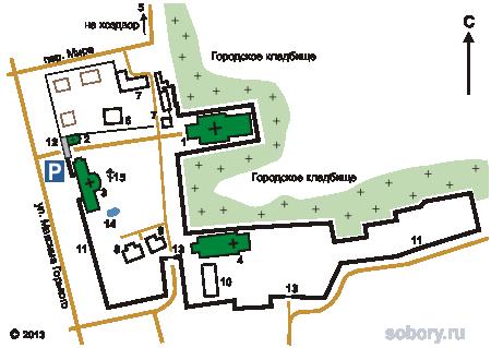План Покровско-Васильевского монастыря в Павловском Посаде