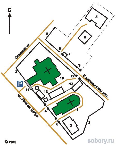 План Знаменского монастыря в Костроме
