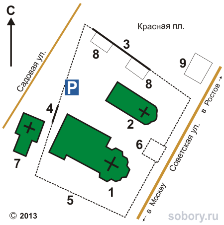 План храмового комплекса упраздненного Богородицко-Сретенского Новодевичьего монастыря