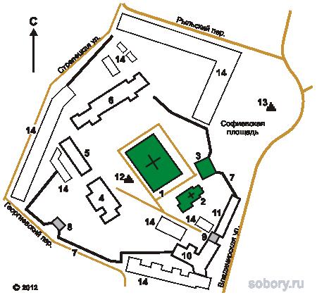 План Софийского мужского монастыря,Украина,Киев