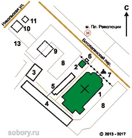 План Богоявленского монастыря в Москве