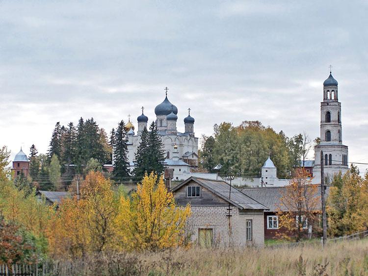 Костромская область, Чухломский район, Ножкино. Покровский Авраамиево-Городецкий монастырь, фотография. общий вид в ландшафте
