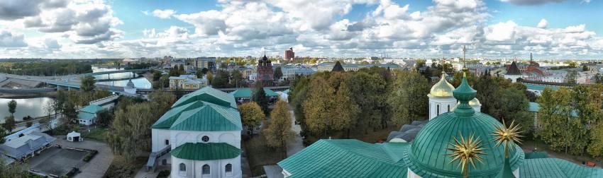 Ярославская область, Ярославль, город, Ярославль. Спасо-Преображенский монастырь, фотография. общий вид в ландшафте, панорама со звонницы