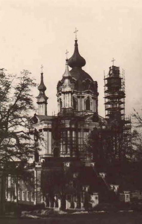 Украина, Киевская область, Киев, город, Киев. Церковь Андрея Первозванного, фотография. архивная фотография, Фотография сделана в 1974 году.