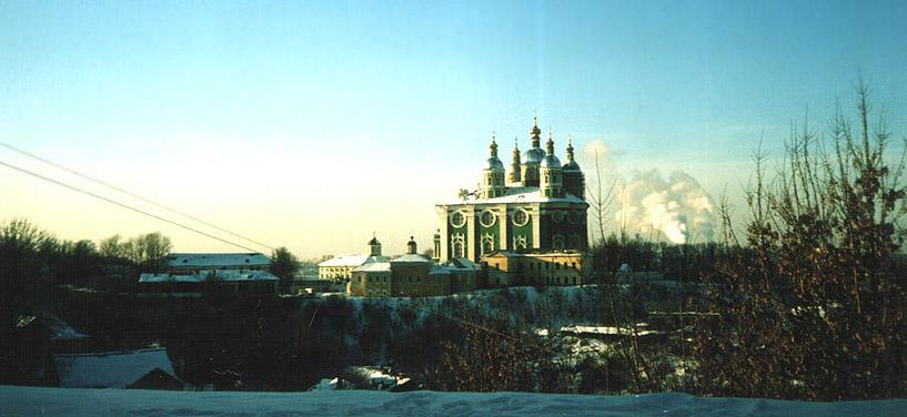 Смоленская область, Смоленск, город, Смоленск. Кафедральный собор Успения Пресвятой Богородицы, фотография. общий вид в ландшафте,