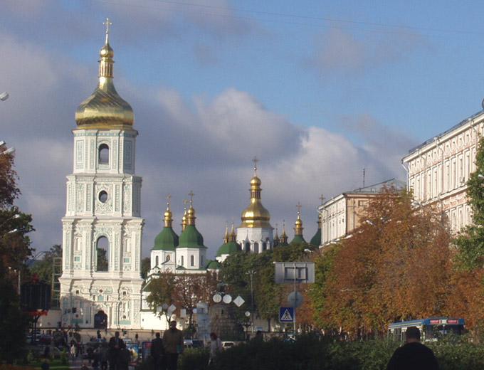 Украина, Киевская область, Киев, город, Киев. Собор Софии, Премудрости Божией, фотография. общий вид в ландшафте