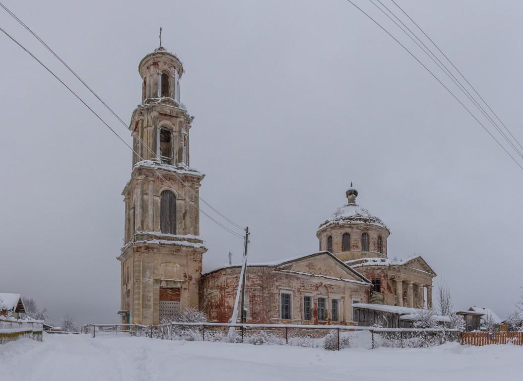 Тверская область, Лихославльский район, Толмачи. Церковь Богоявления Господня, фотография. фасады, Вид с юго-запада