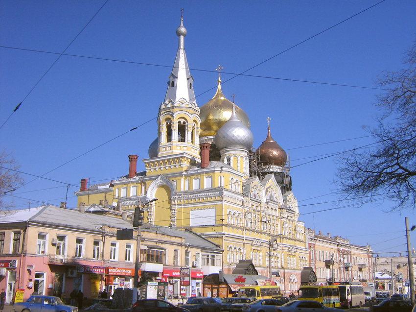 Украина, Одесская область, Одесса, город, Одесса. Пантелеимоновский мужской монастырь, фотография. общий вид в ландшафте