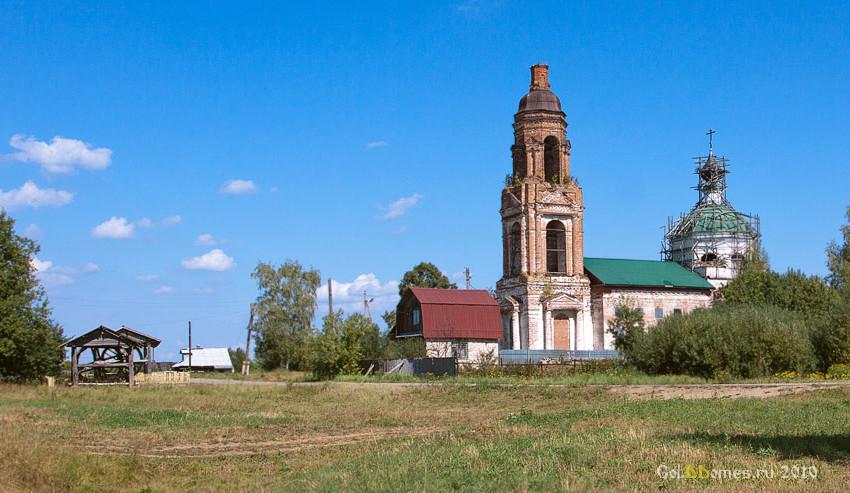 Костромская область, Красносельский район, Прискоково. Церковь Рождества Христова, фотография. общий вид в ландшафте