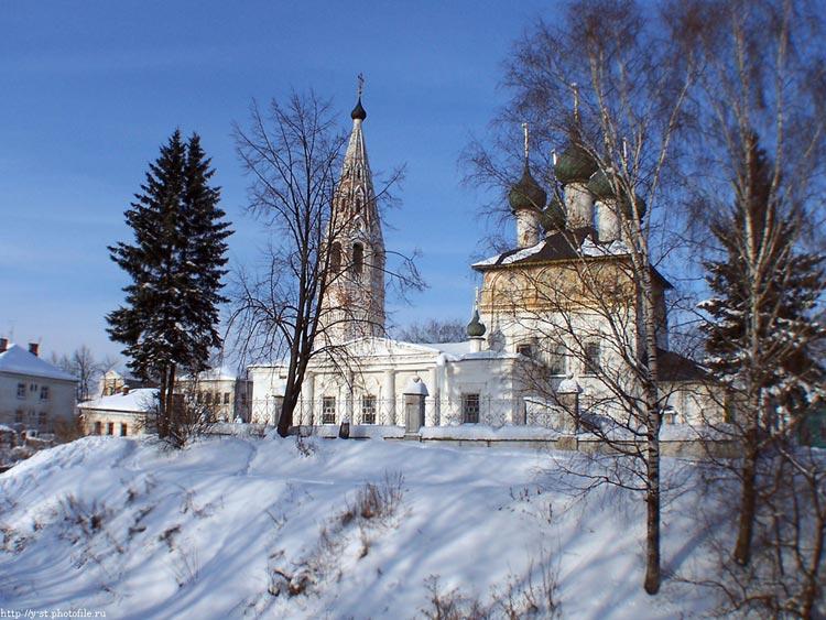 Костромская область, Нерехтский район, Нерехта. Церковь Богоявления Господня, фотография. общий вид в ландшафте