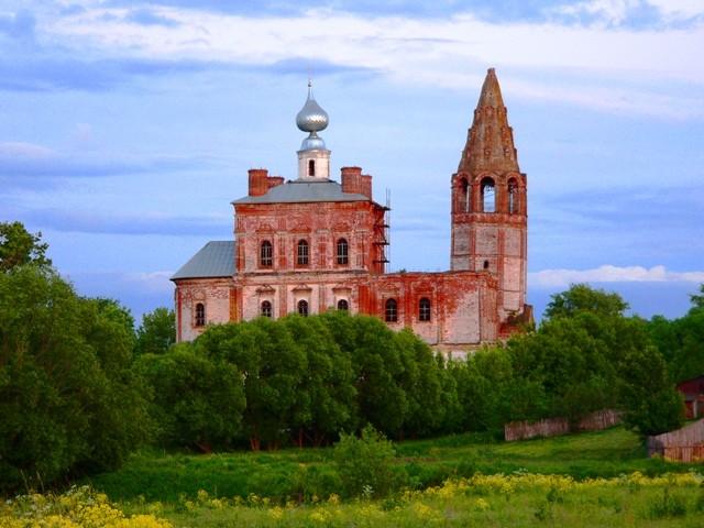 Ивановская область, Гаврилово-Посадский район, Шекшово. Церковь Иоакима и Анны, фотография. общий вид в ландшафте