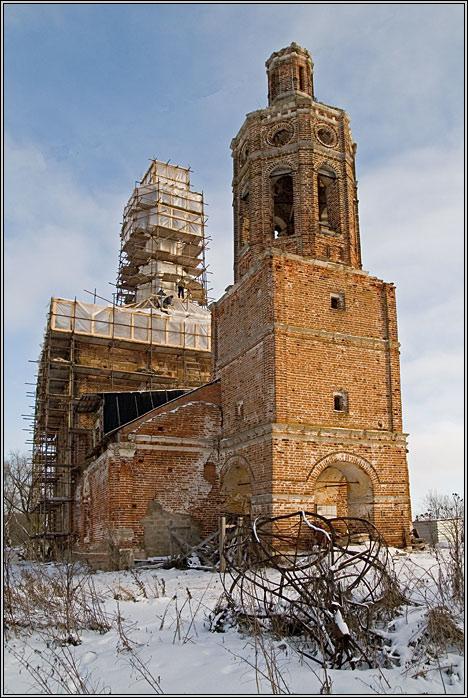 Московская область, Каширский городской округ, Злобино. Церковь Михаила Архангела, фотография. фасады