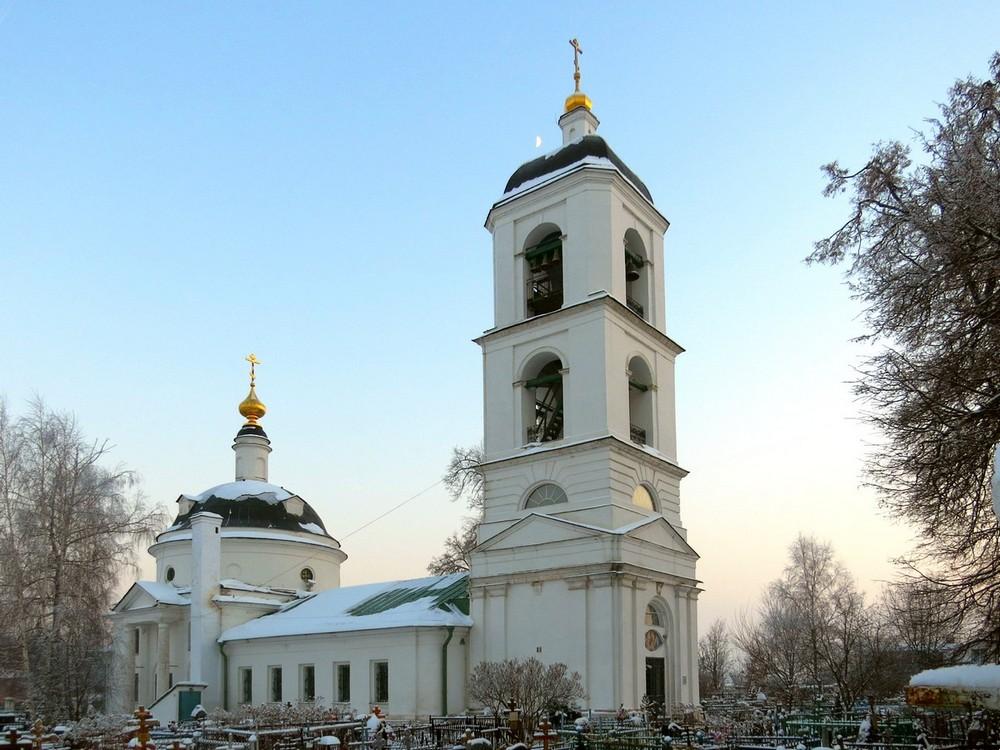 Московская область, Богородский городской округ, Бисерово. Церковь Богоявления Господня, фотография. общий вид в ландшафте