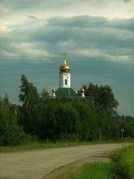 Вологодская область, Череповецкий район, Козохта. Церковь Богоявления Господня, фотография. общий вид в ландшафте