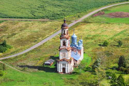 Нижегородская область, Ардатовский район, Нуча. Церковь Спаса Всемилостивого, фотография. общий вид в ландшафте,