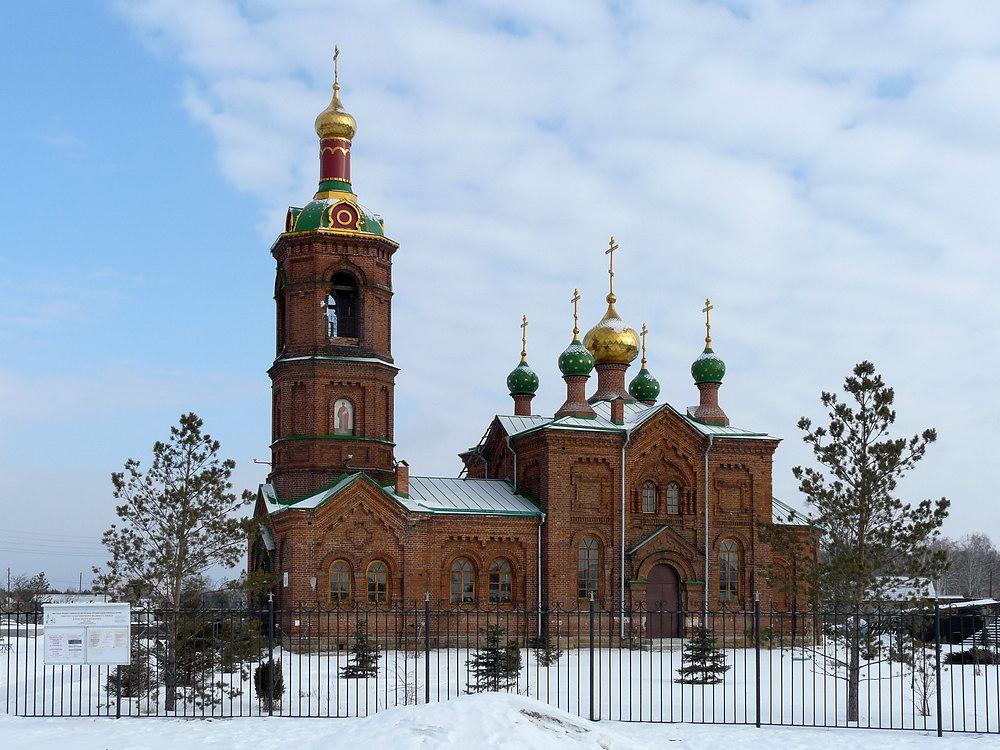 Челябинская область, Красноармейский район, Харино. Церковь Александра Невского, фотография. фасады