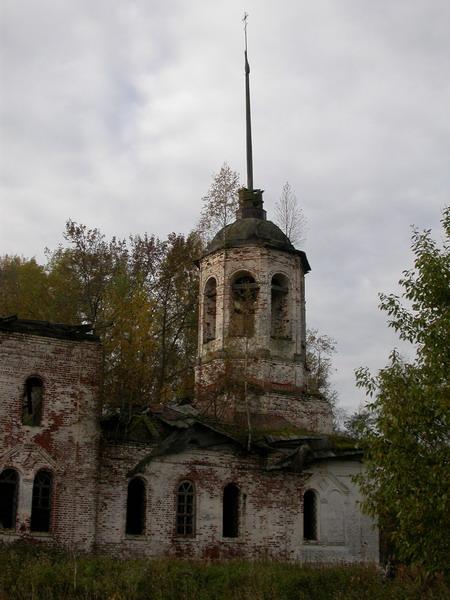 Вологодская область, Шекснинский район, Ильинское, урочище. Церковь Илии Пророка, фотография. общий вид в ландшафте