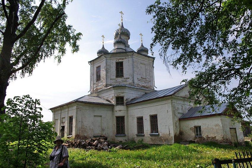 Костромская область, Солигаличский район, Корцово. Церковь Троицы Живоначальной, фотография. общий вид в ландшафте