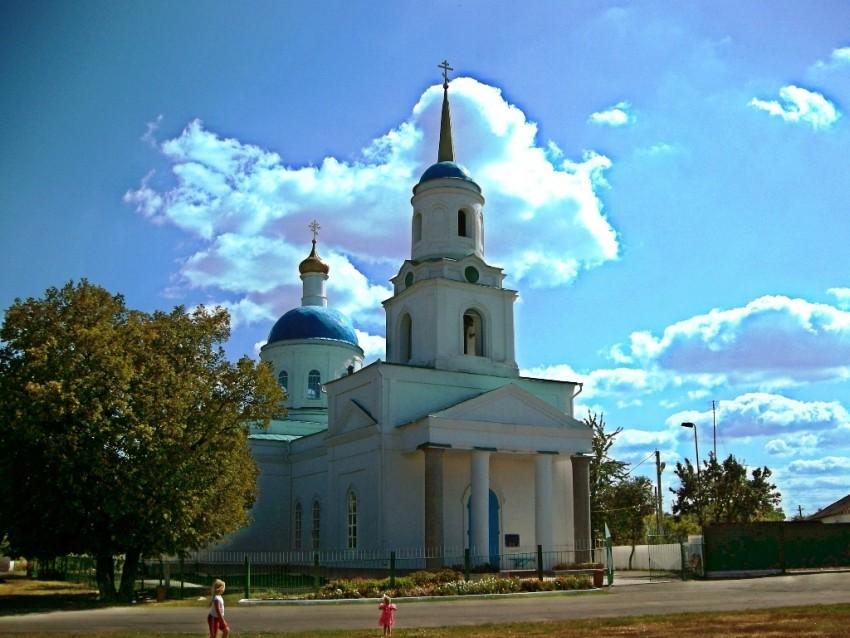 Курская область, Беловский район, Пены. Церковь Богоявления Господня, фотография. общий вид в ландшафте, церковь построена в 1878 году