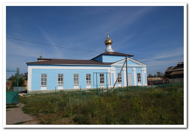 Рязанская область, Ряжский район, Новое Еголдаево. Церковь Николая Чудотворца, фотография. общий вид в ландшафте