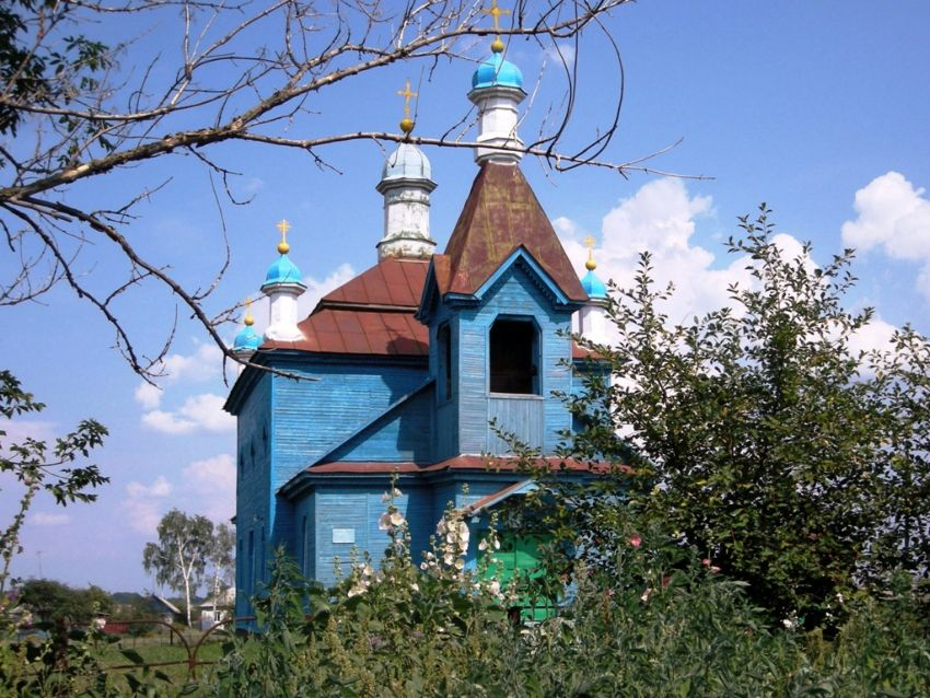 Курская область, Обоянский район, Трубеж. Церковь Михаила Архангела, фотография. общий вид в ландшафте
