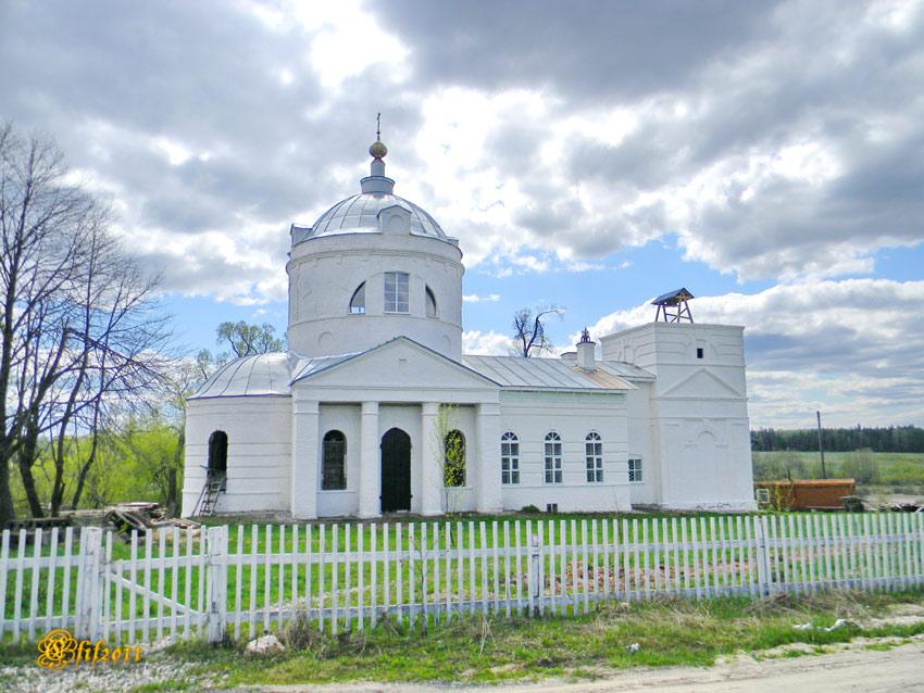 Ивановская область, Лежневский район, Афанасово. Церковь Михаила Архангела, фотография. общий вид в ландшафте