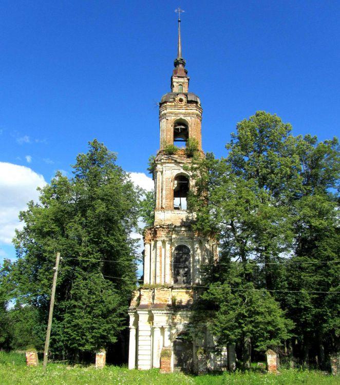 Костромская область, Солигаличский район, Нероново. Церковь Воскресения Христова, фотография. фасады, колокольня, вид с запада