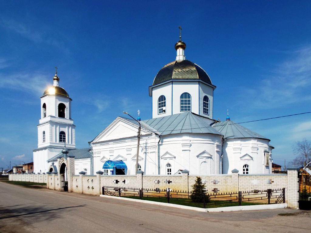 Ульяновская область, Старомайнский район, Старая Майна. Церковь Богоявления  Господня, фотография. общий вид в ландшафте