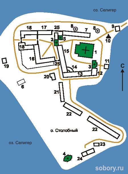 План  Нило-Столобенской пустыни, озеро Селигер