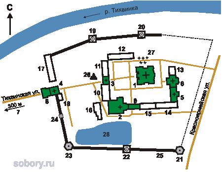 План Тихвинского Богородице-Успенского монастыря, Ленинградская  область