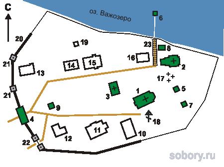 План Важеозерского Спасо-Преображенского монастыря, Республика Карелия