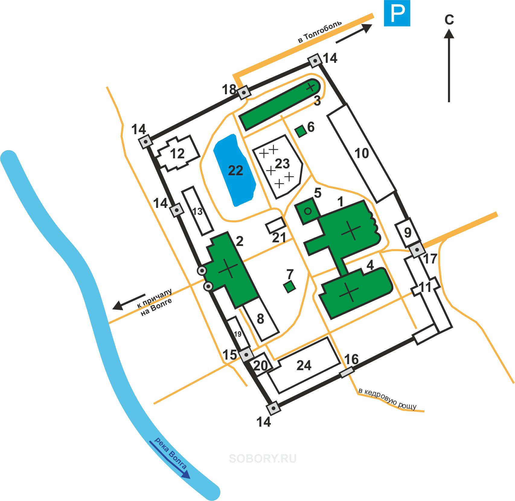 План Введенского Толгского монастыря,Толга
