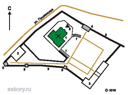 План Святогорского монастыря в Пушкинских Горах