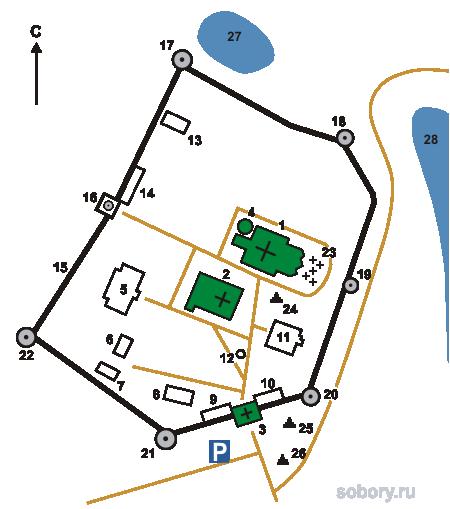 План Иосифо-Волоколамского монастыря, Московская область