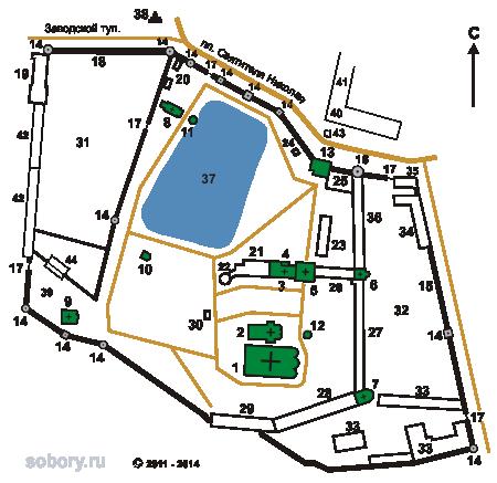 План Николо-Угрешского  монастыря,г.Дзержинский,Московской области