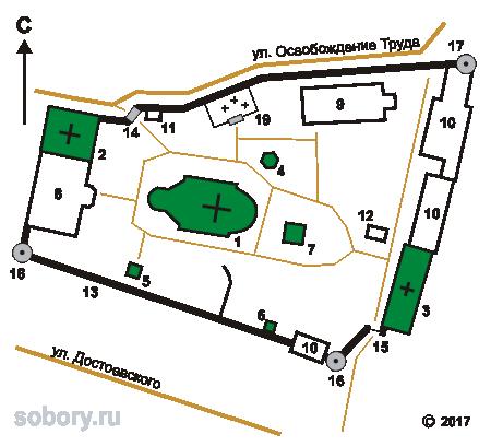 План Алексеевского Акатова монастыря в Воронеже