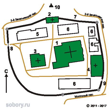 План Зачатьевского монастыря, Москва