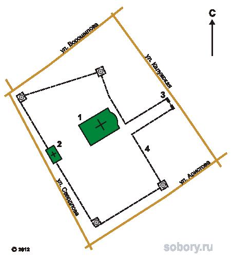 План Распятского монастыря,Серпухов, Московская область