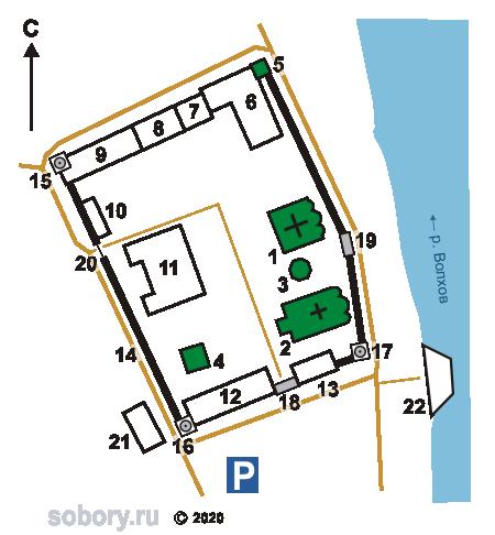 План Никольского монастыря в Старой Ладоге