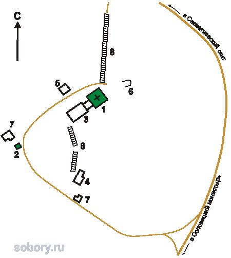 План Свято-Вознесенского скита ,Соловецкие острова, Архангельская область