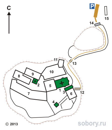 План монастыря св. Варлаама в Метеорах, Греция