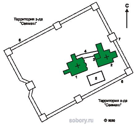 План Николаевского Корельского монастыря в Северодвинске