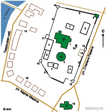 План Воскресенского монастыря в Торжке