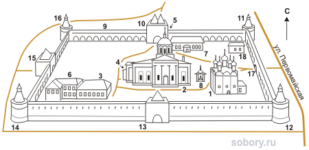 План Зарайского Кремля, Московская область